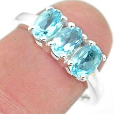 2.49cts natural blue topaz 925 sterling silver ring jewelry size 7.5 t21252