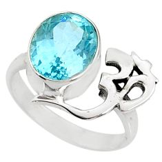 5.36cts natural blue topaz 925 sterling silver solitaire om ring size 7 r67403