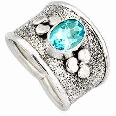 2.19cts natural blue topaz 925 sterling silver solitaire ring size 7.5 d46421