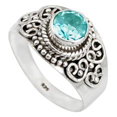 1.39cts natural blue topaz 925 sterling silver solitaire ring size 7.5 d46469