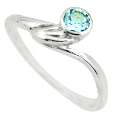 0.71cts natural blue topaz 925 sterling silver solitaire ring size 6.5 r25573
