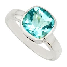 3.34cts natural blue topaz 925 sterling silver solitaire ring size 6.5 r25619