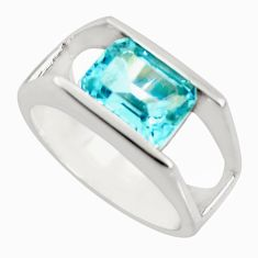 3.24cts natural blue topaz 925 sterling silver solitaire ring size 6.5 r25798