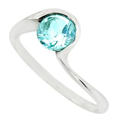 1.30cts natural blue topaz 925 sterling silver solitaire ring size 7.5 r25926