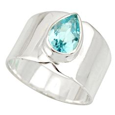 2.46cts natural blue topaz 925 sterling silver solitaire ring size 6.5 r27121
