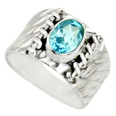 2.05cts natural blue topaz 925 sterling silver solitaire ring size 7.5 r34446