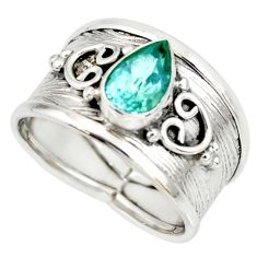 2.12cts natural blue topaz 925 sterling silver solitaire ring size 7.5 r34470