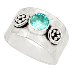 1.47cts natural blue topaz 925 sterling silver solitaire ring size 7.5 r34622