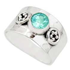 1.45cts natural blue topaz 925 sterling silver solitaire ring size 7.5 r34628