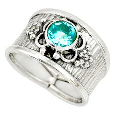 1.41cts natural blue topaz 925 sterling silver solitaire ring size 7.5 r34647