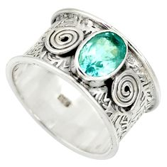 2.23cts natural blue topaz 925 sterling silver solitaire ring size 7.5 r34694