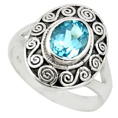 2.20cts natural blue topaz 925 sterling silver solitaire ring size 7.5 r40934