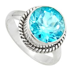 7.04cts natural blue topaz 925 sterling silver solitaire ring size 8.5 r49782