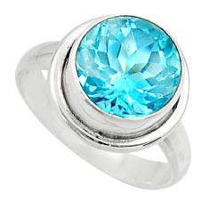 7.51cts natural blue topaz 925 sterling silver solitaire ring size 8.5 r49792