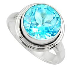 7.24cts natural blue topaz 925 sterling silver solitaire ring size 8.5 r49798