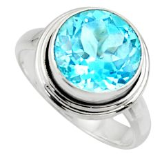 7.76cts natural blue topaz 925 sterling silver solitaire ring size 8.5 r49799