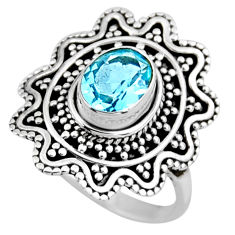 2.35cts natural blue topaz 925 sterling silver solitaire ring size 6.5 r54342
