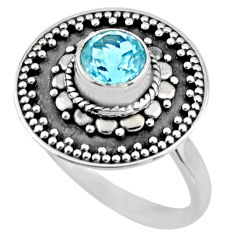 1.21cts natural blue topaz 925 sterling silver solitaire ring size 8.5 r54372