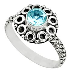 1.00cts natural blue topaz 925 sterling silver solitaire ring size 7.5 r64783