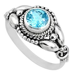 1.39cts natural blue topaz 925 sterling silver solitaire ring size 7.5 r64862