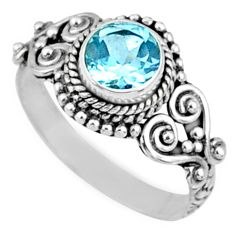 1.32cts natural blue topaz 925 sterling silver solitaire ring size 7.5 r64926