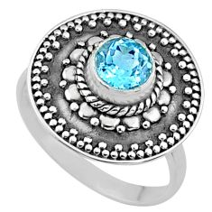 1.16cts natural blue topaz 925 sterling silver solitaire ring size 7.5 r65157