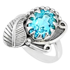 4.40cts natural blue topaz 925 sterling silver solitaire ring size 5.5 r67281