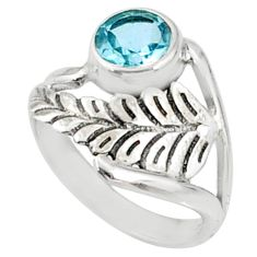 2.39cts natural blue topaz 925 sterling silver solitaire ring size 6.5 r67432