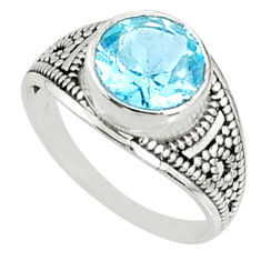 4.67cts natural blue topaz 925 sterling silver solitaire ring size 8.5 r68543