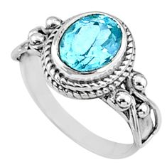 3.17cts natural blue topaz 925 sterling silver solitaire ring size 7.5 r68747