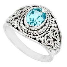 2.20cts natural blue topaz 925 sterling silver solitaire ring size 7.5 r69099