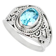 2.08cts natural blue topaz 925 sterling silver solitaire ring size 7.5 r69118