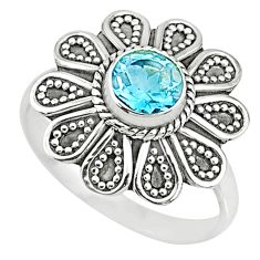 1.16cts natural blue topaz 925 sterling silver solitaire ring size 8.5 r74723