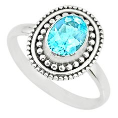 2.26cts natural blue topaz 925 sterling silver solitaire ring size 8.5 r74725