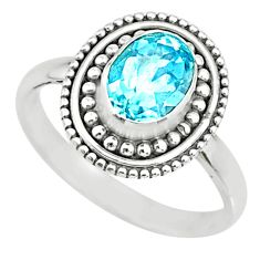 2.09cts natural blue topaz 925 sterling silver solitaire ring size 7.5 r74726