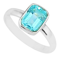 2.04cts natural blue topaz 925 sterling silver solitaire ring size 6.5 r84026
