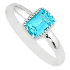 1.74cts natural blue topaz 925 sterling silver solitaire ring size 10 r77171