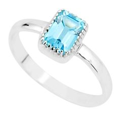 1.57cts natural blue topaz 925 sterling silver solitaire ring size 10 t7437