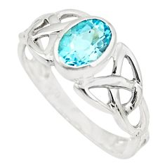 1.57cts natural blue topaz 925 sterling silver solitaire ring size 6 r25372