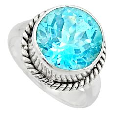 6.59cts natural blue topaz 925 sterling silver solitaire ring size 6 r49785