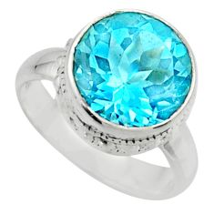 6.56cts natural blue topaz 925 sterling silver solitaire ring size 6 r49786