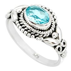 1.43cts natural blue topaz 925 sterling silver solitaire ring size 6 r85507