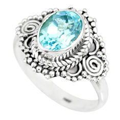 1.96cts natural blue topaz 925 sterling silver solitaire ring size 6 r87008