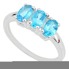 2.73cts natural blue topaz 925 sterling silver solitaire ring size 6 t7605