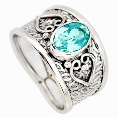 2.13cts natural blue topaz 925 sterling silver solitaire ring size 7 r34613
