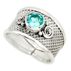1.41cts natural blue topaz 925 sterling silver solitaire ring size 7 r34663