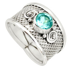 1.41cts natural blue topaz 925 sterling silver solitaire ring size 7 r34666