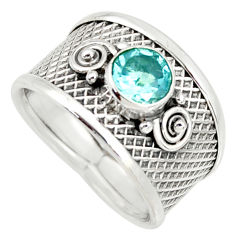 1.21cts natural blue topaz 925 sterling silver solitaire ring size 7 r34669