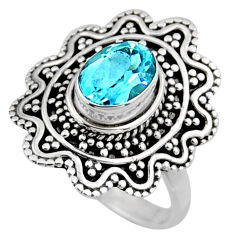 2.23cts natural blue topaz 925 sterling silver solitaire ring size 7 r54341