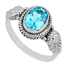 2.13cts natural blue topaz 925 sterling silver solitaire ring size 7 r57462